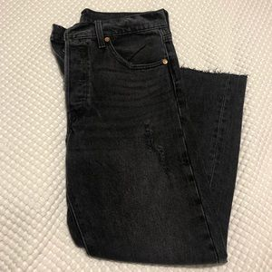Levi's 501 destroyed ankle jeans in black